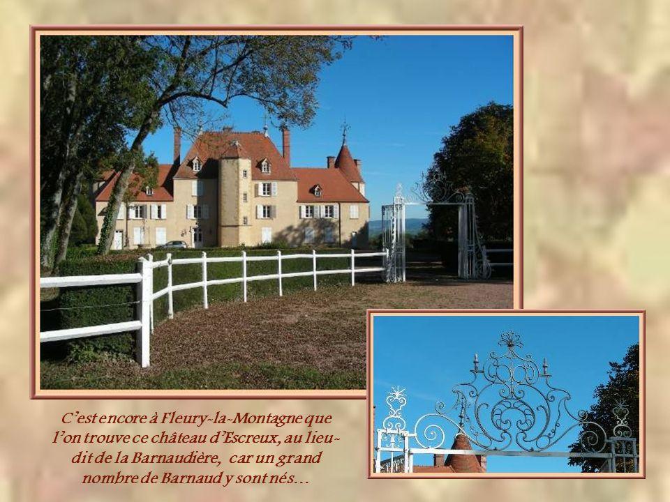 C'est encore à Fleury-la-Montagne que l'on trouve ce château d'Escreux, au lieu-dit de la Barnaudière, car un grand nombre de Barnaud y sont nés…