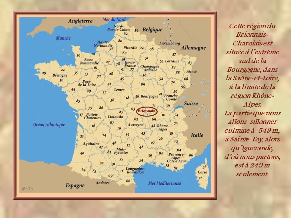 Cette région du Brionnais-Charolais est située à l'extrême sud de la Bourgogne, dans la Saône-et-Loire, à la limite de la région Rhône-Alpes.