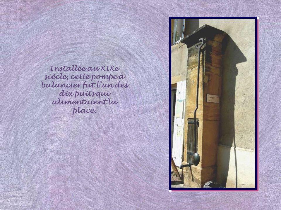 Installée au XIXe siècle, cette pompe à balancier fut l'un des dix puits qui alimentaient la place.