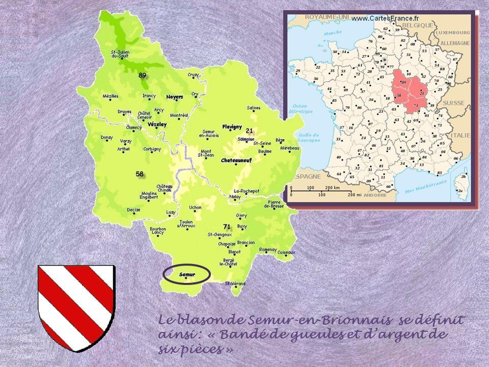 Le blason de Semur-en-Brionnais se définit ainsi : « Bandé de gueules et d'argent de six pièces »