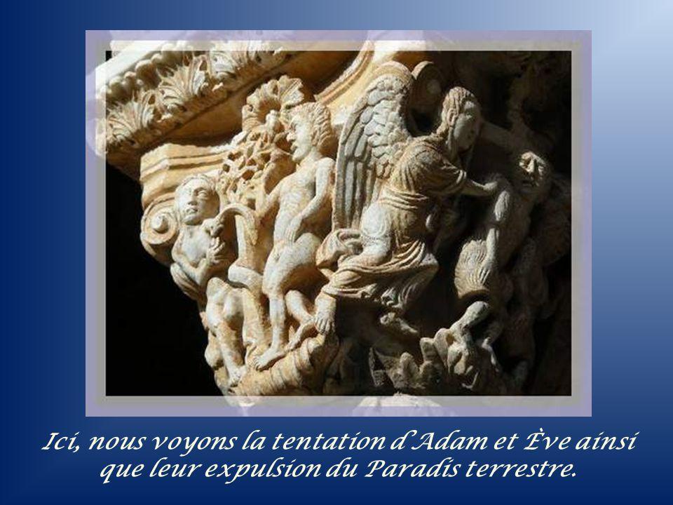 Ici, nous voyons la tentation d'Adam et Ève ainsi que leur expulsion du Paradis terrestre.