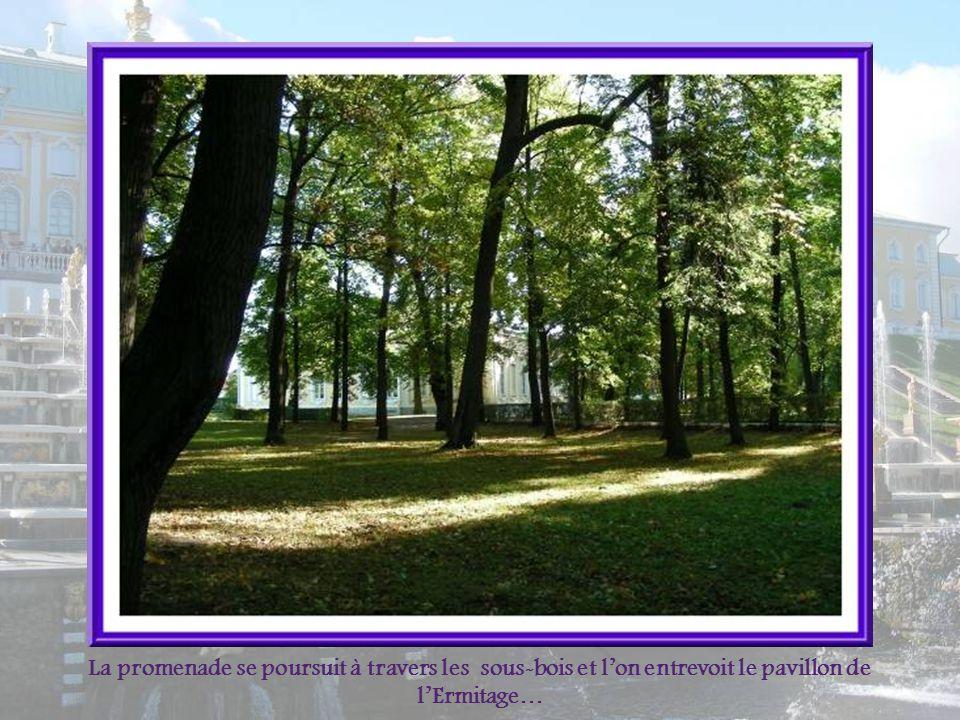 La promenade se poursuit à travers les sous-bois et l'on entrevoit le pavillon de l'Ermitage…