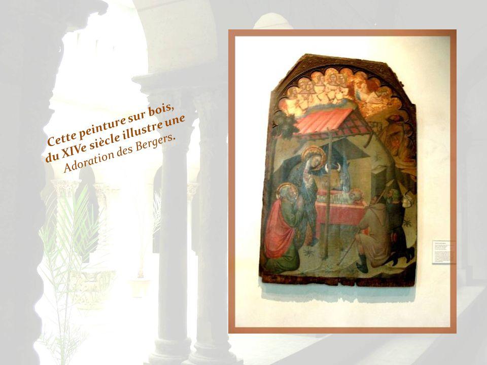 Cette peinture sur bois, du XIVe siècle illustre une Adoration des Bergers.