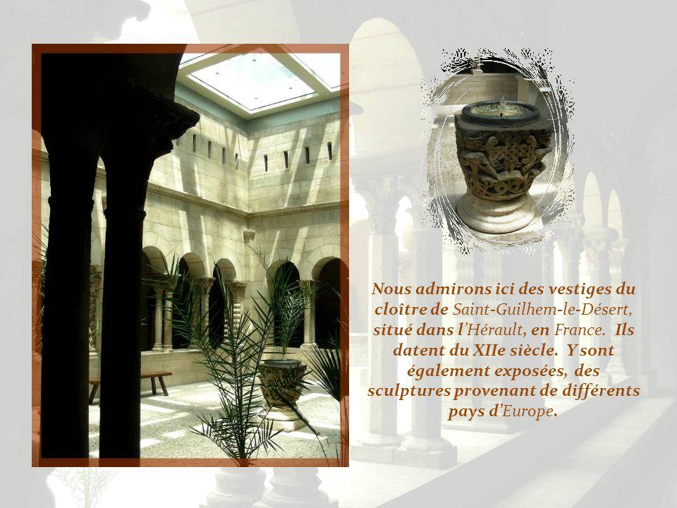 Nous admirons ici des vestiges du cloître de Saint-Guilhem-le-Désert, situé dans l'Hérault, en France.