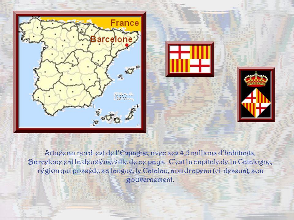 Située au nord-est de l'Espagne, avec ses 4,5 millions d'habitants, Barcelone est la deuxième ville de ce pays.