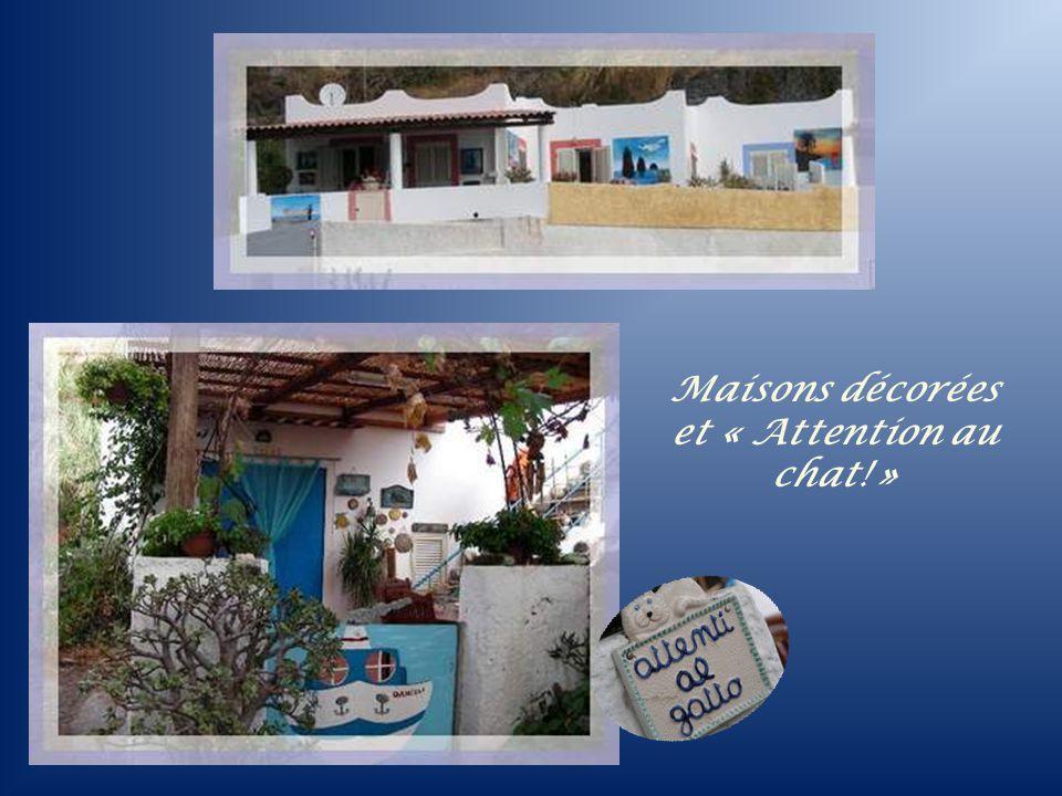 Maisons décorées et « Attention au chat! »