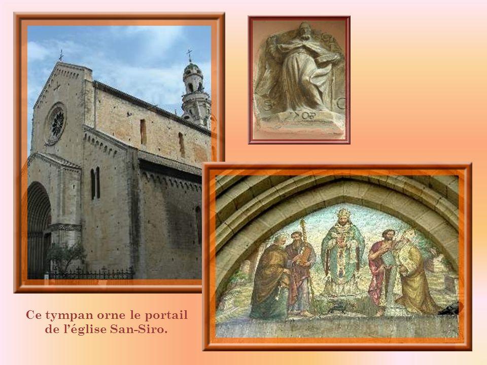 Ce tympan orne le portail de l'église San-Siro.