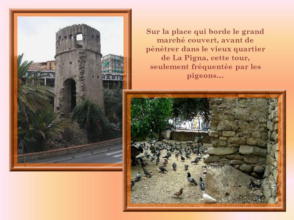 Sur la place qui borde le grand marché couvert, avant de pénétrer dans le vieux quartier de La Pigna, cette tour, seulement fréquentée par les pigeons…
