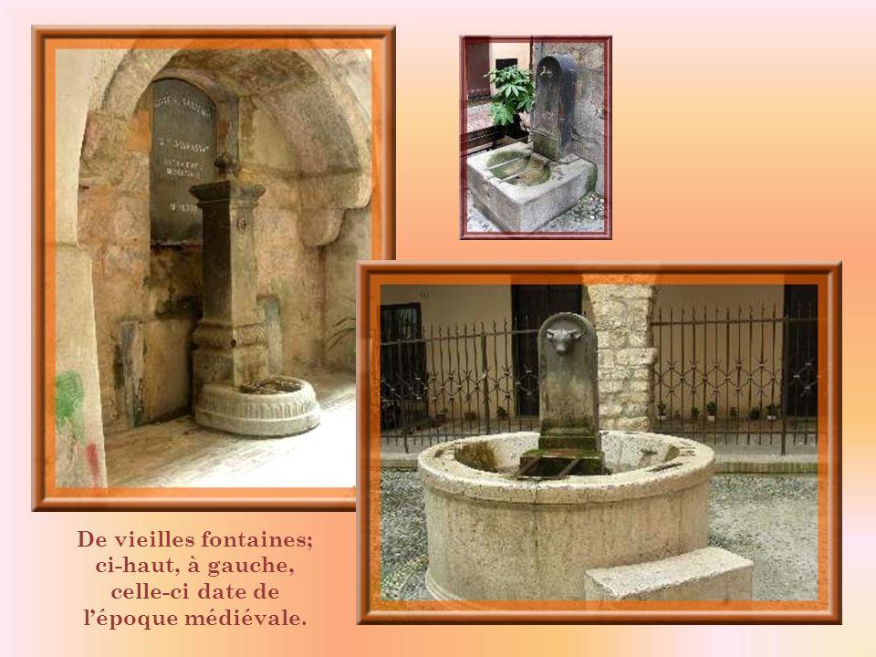 De vieilles fontaines; ci-haut, à gauche, celle-ci date de l'époque médiévale.