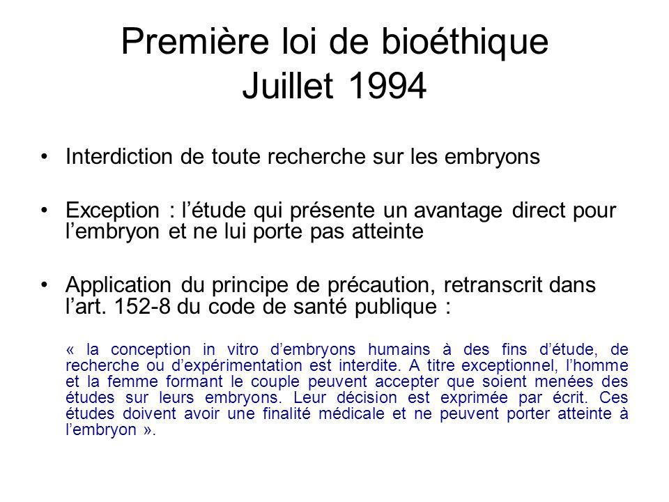 Première loi de bioéthique Juillet 1994