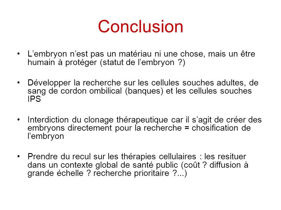 Conclusion L'embryon n'est pas un matériau ni une chose, mais un être humain à protéger (statut de l'embryon )