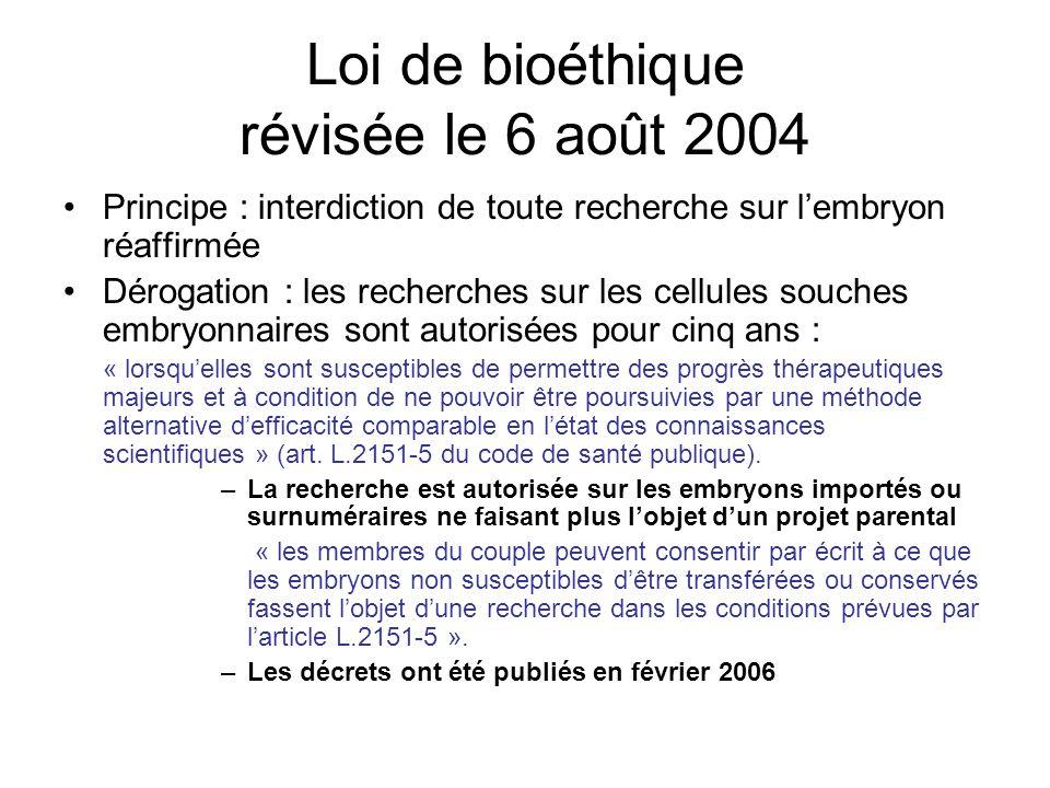 Loi de bioéthique révisée le 6 août 2004