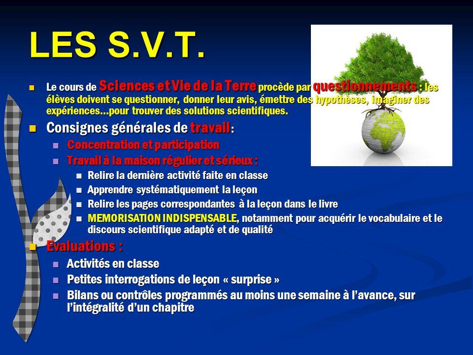 LES S.V.T. Consignes générales de travail : Evaluations :