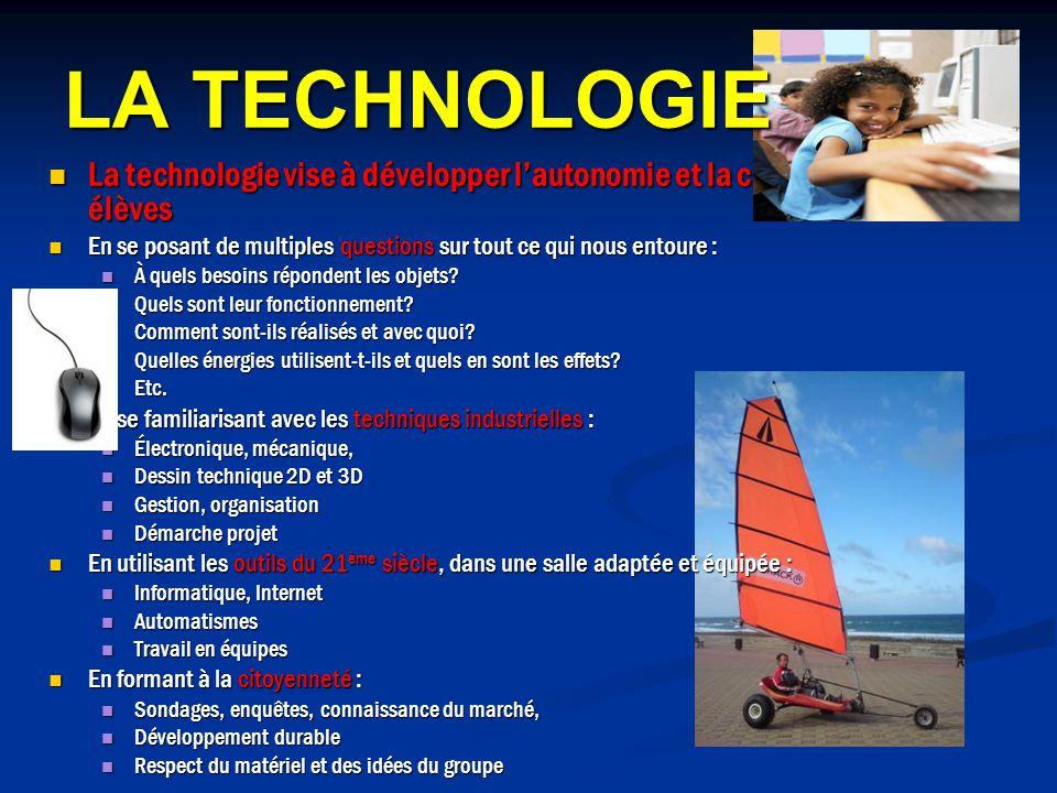 LA TECHNOLOGIE La technologie vise à développer l'autonomie et la créativité des élèves.