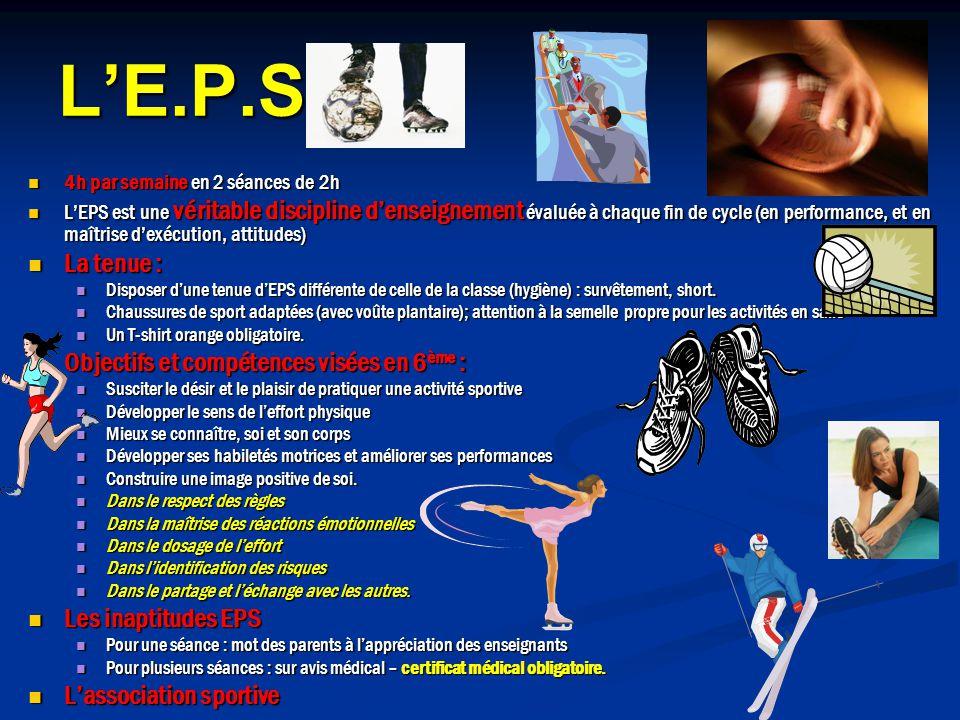 L'E.P.S. La tenue : Objectifs et compétences visées en 6ème :