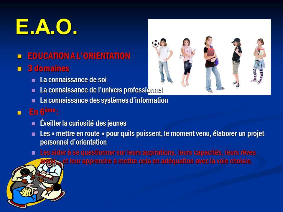 E.A.O. EDUCATION A L'ORIENTATION 3 domaines La connaissance de soi