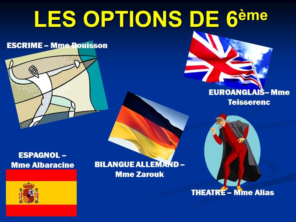 LES OPTIONS DE 6ème ESCRIME – Mme Bouisson EUROANGLAIS– Mme Teisserenc