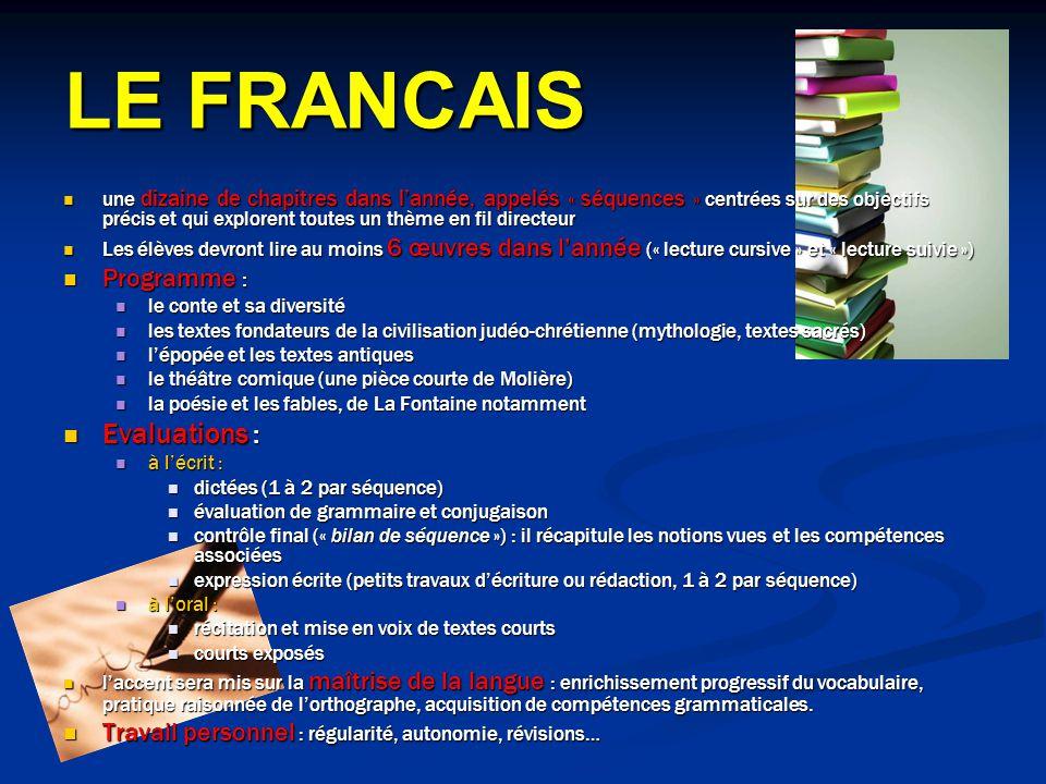 LE FRANCAIS Evaluations : Programme :