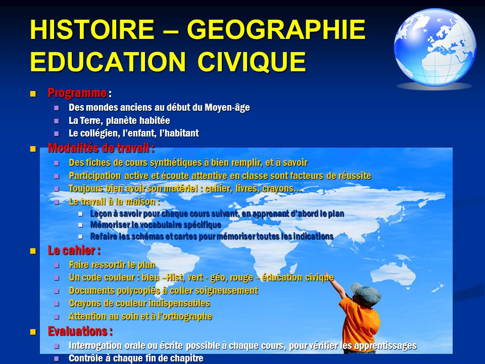HISTOIRE – GEOGRAPHIE EDUCATION CIVIQUE