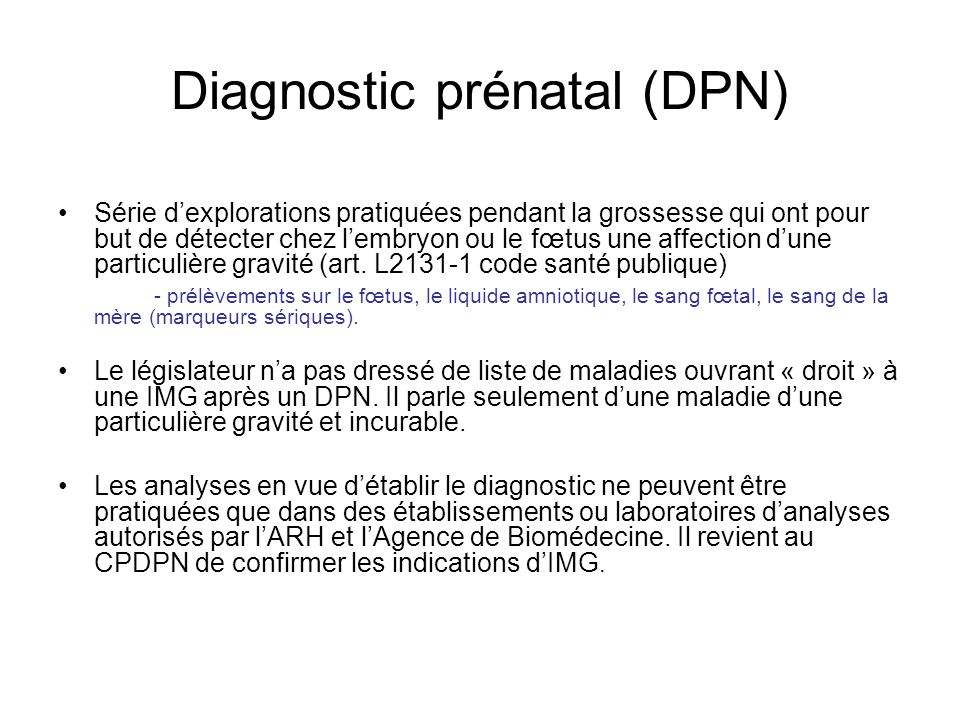 Diagnostic prénatal (DPN)