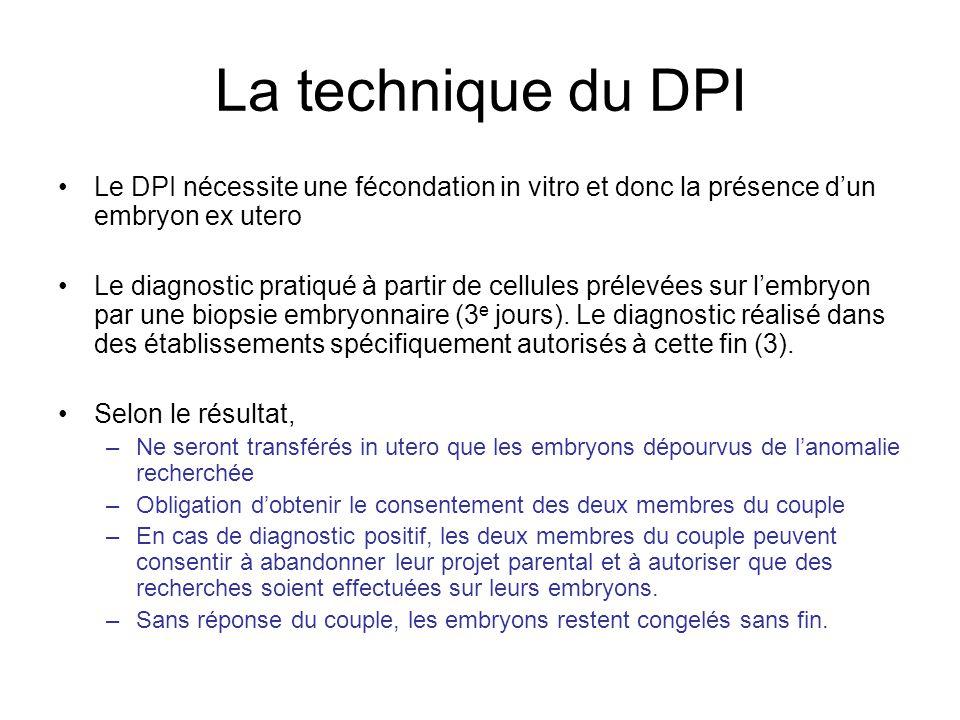 La technique du DPI Le DPI nécessite une fécondation in vitro et donc la présence d'un embryon ex utero.
