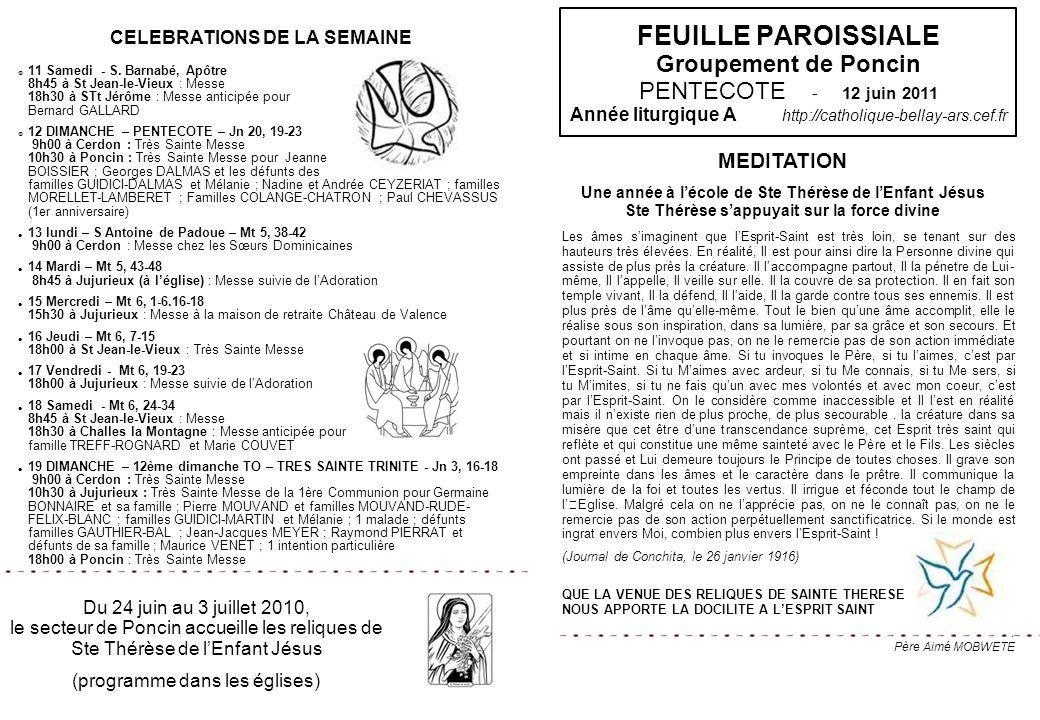 CELEBRATIONS DE LA SEMAINE