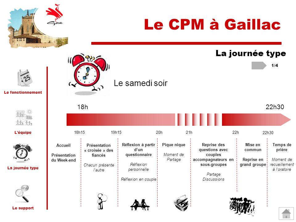 Le CPM à Gaillac La journée type Le samedi soir 18h 22h30 1/4 18h15
