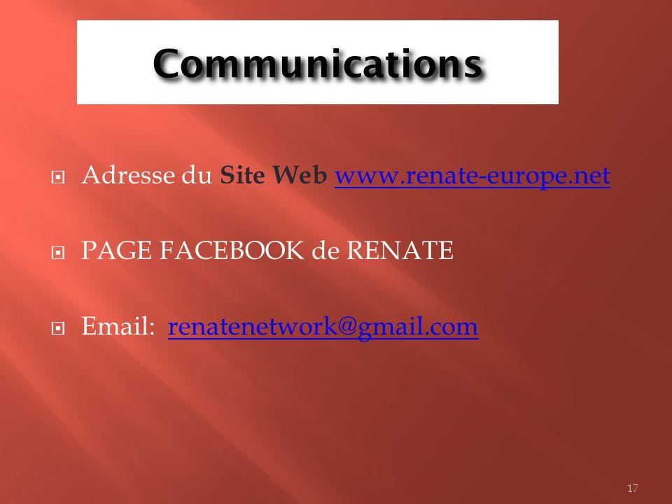 Communications Adresse du Site Web www.renate-europe.net.