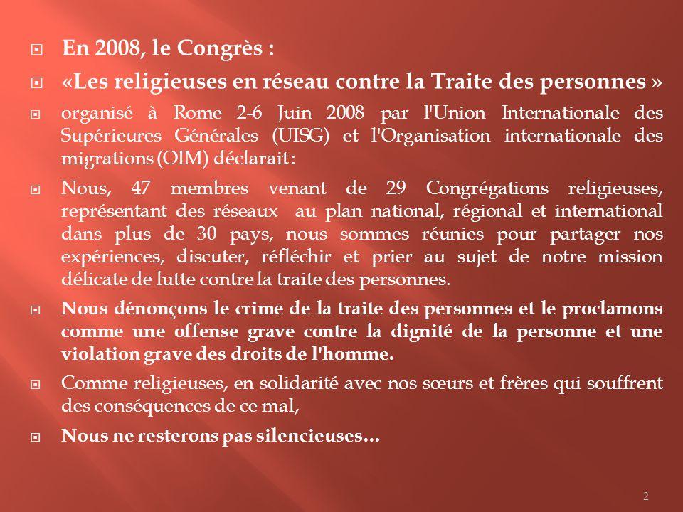 «Les religieuses en réseau contre la Traite des personnes »