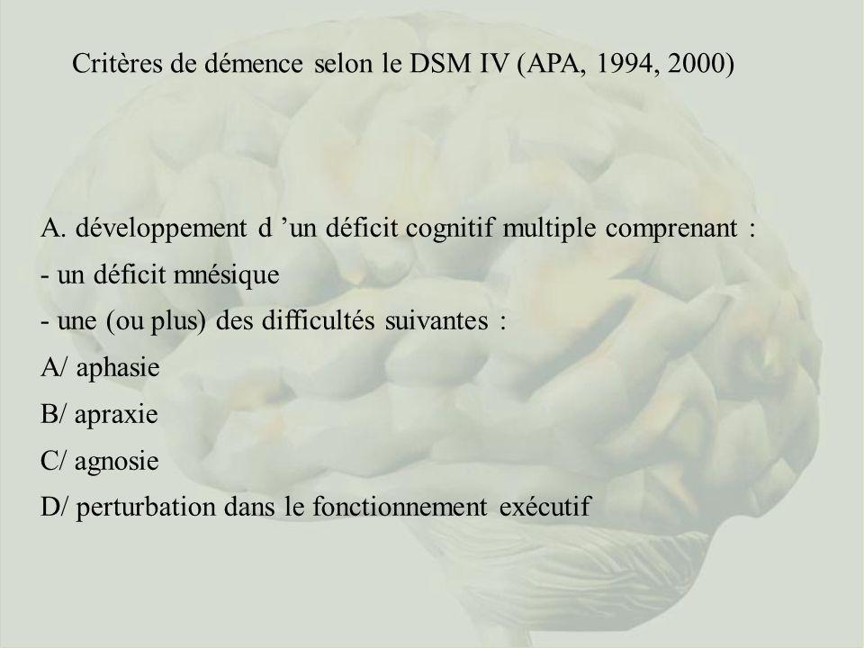 Critères de démence selon le DSM IV (APA, 1994, 2000)