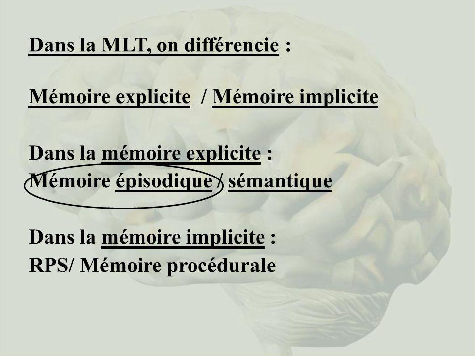Dans la MLT, on différencie :