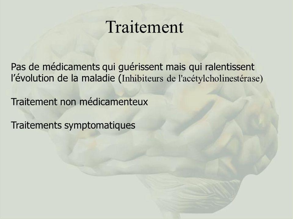 Traitement Pas de médicaments qui guérissent mais qui ralentissent l'évolution de la maladie (Inhibiteurs de l acétylcholinestérase)