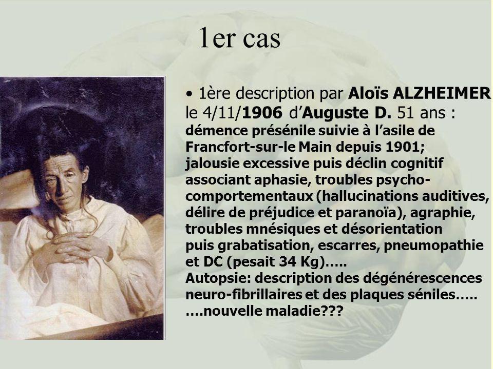 1er cas 1ère description par Aloïs ALZHEIMER le 4/11/1906 d'Auguste D. 51 ans :