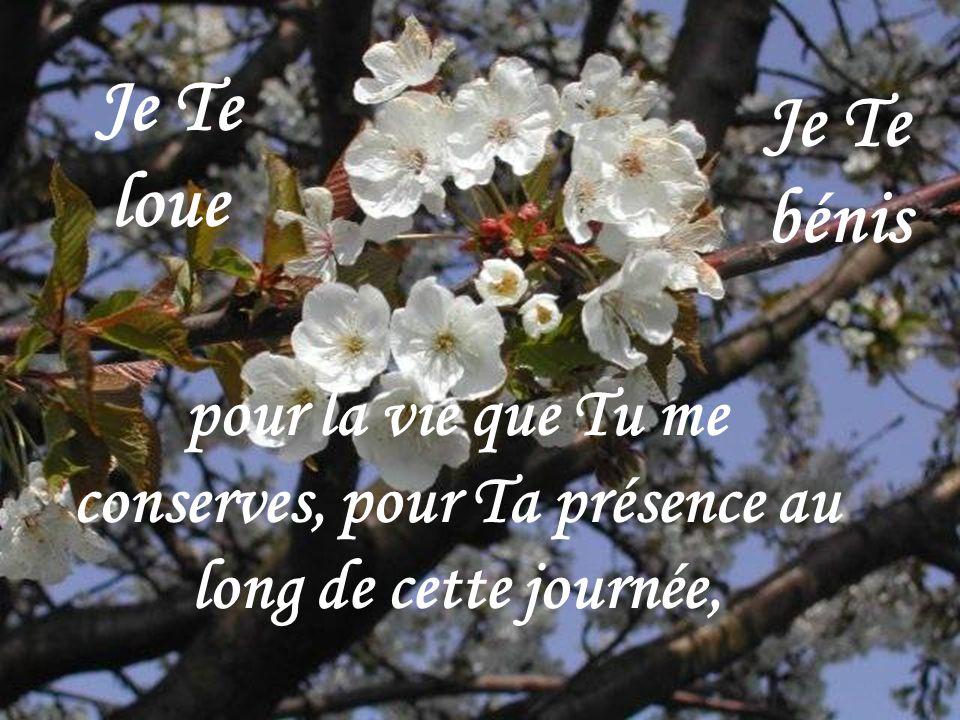 Je Te loue Je Te bénis pour la vie que Tu me conserves, pour Ta présence au long de cette journée,