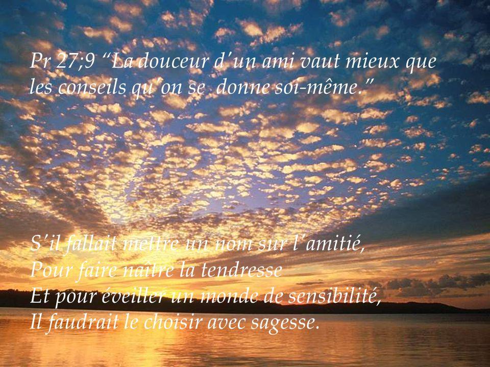 Pr 27;9 La douceur d un ami vaut mieux que les conseils qu on se donne soi-même.