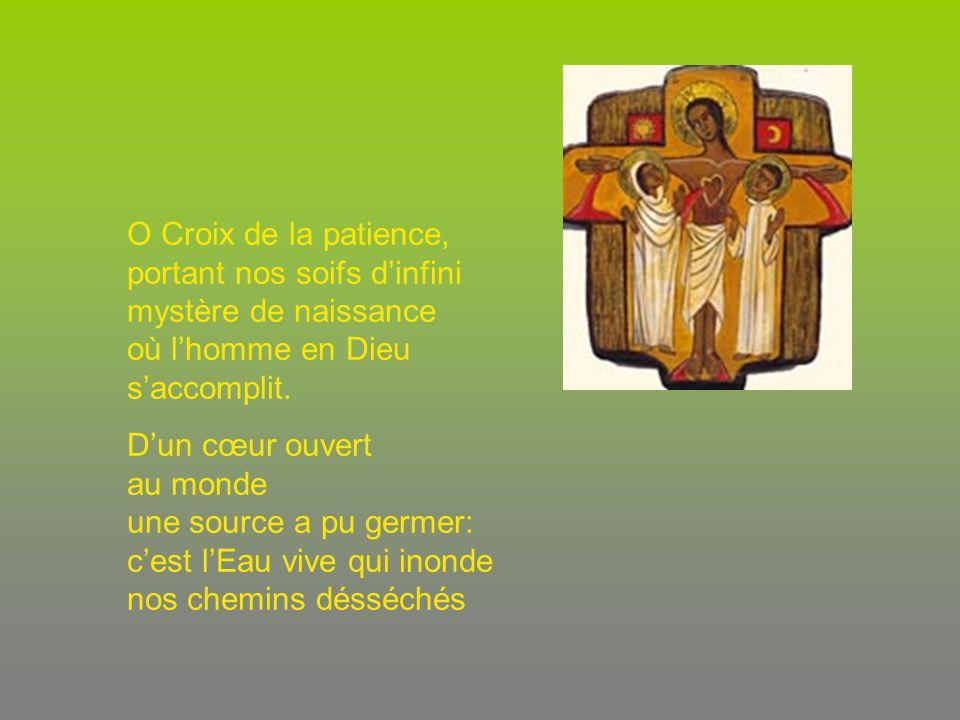 O Croix de la patience, portant nos soifs d'infini mystère de naissance où l'homme en Dieu s'accomplit.