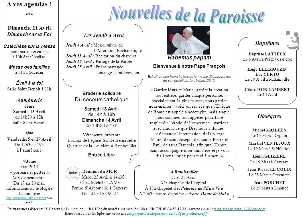 Nouvelles de la Paroisse Bienvenue à notre Pape François