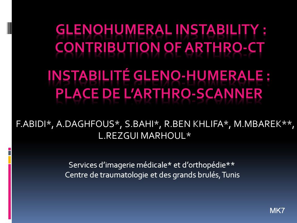Instabilité gleno-humerale : place de l'arthro-scanner