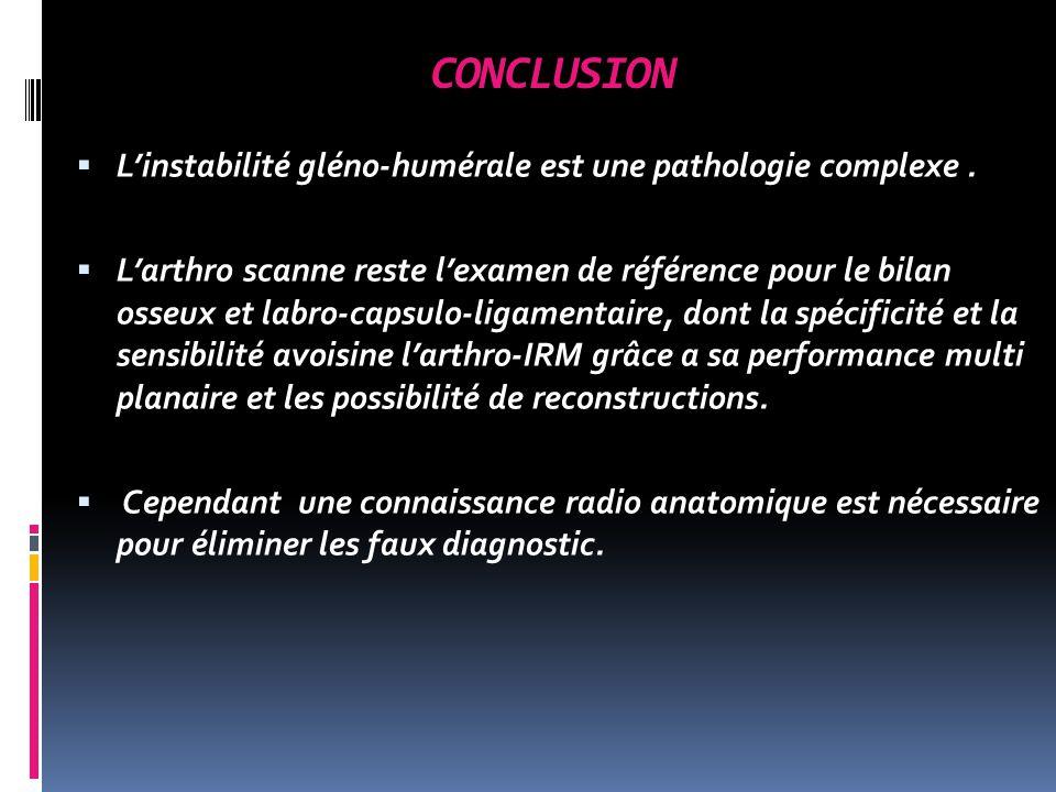 CONCLUSION L'instabilité gléno-humérale est une pathologie complexe .