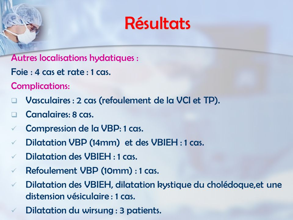 Résultats Autres localisations hydatiques :
