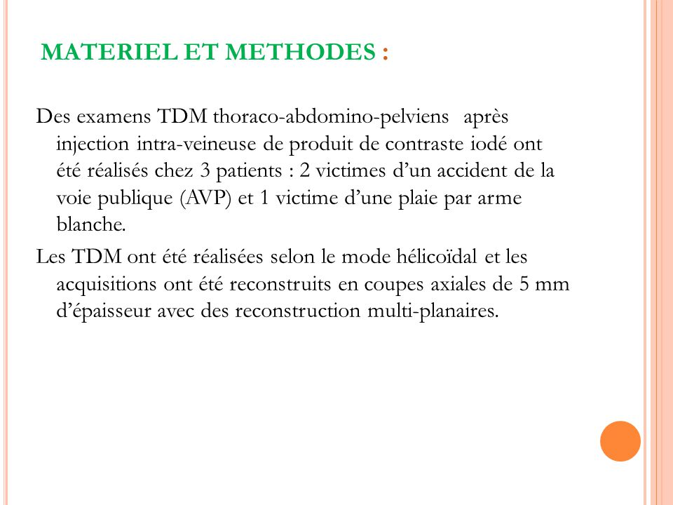 MATERIEL ET METHODES :