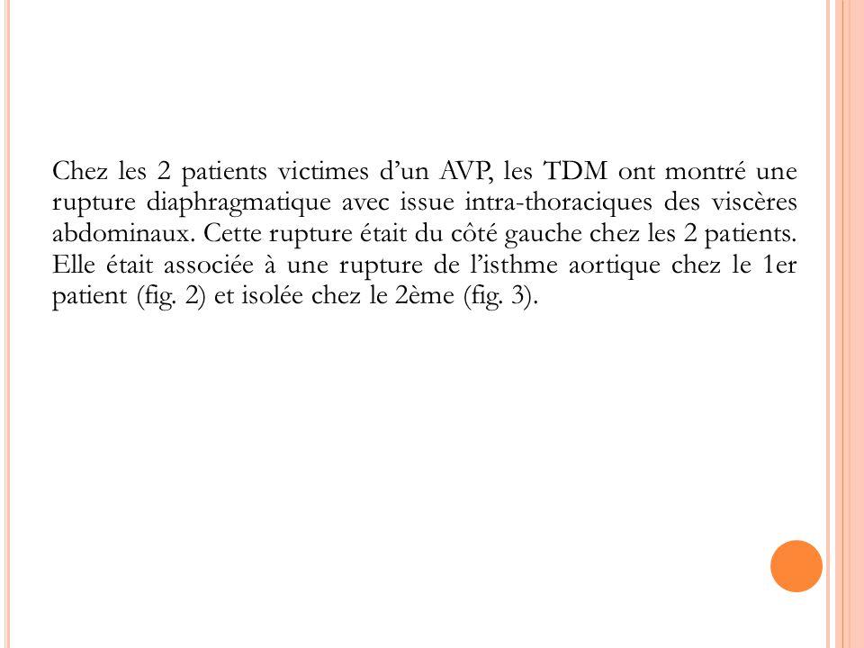 Chez les 2 patients victimes d'un AVP, les TDM ont montré une rupture diaphragmatique avec issue intra-thoraciques des viscères abdominaux.