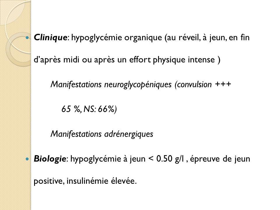 Clinique: hypoglycémie organique (au réveil, à jeun, en fin d'après midi ou après un effort physique intense )