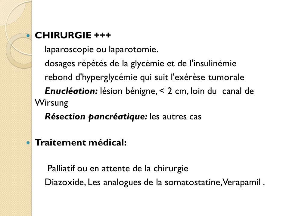 CHIRURGIE +++ laparoscopie ou laparotomie. dosages répétés de la glycémie et de l insulinémie. rebond d hyperglycémie qui suit l exérèse tumorale.