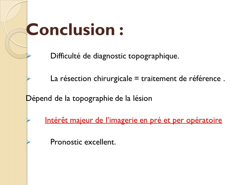 Conclusion : Difficulté de diagnostic topographique.