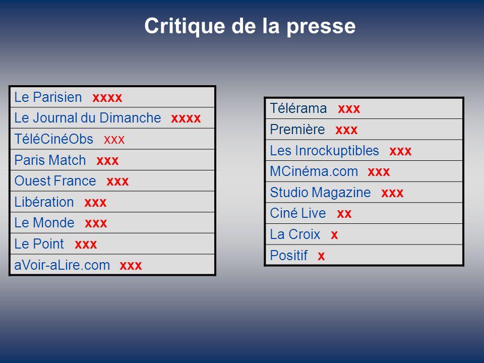 Critique de la presse Le Parisien xxxx Télérama xxx