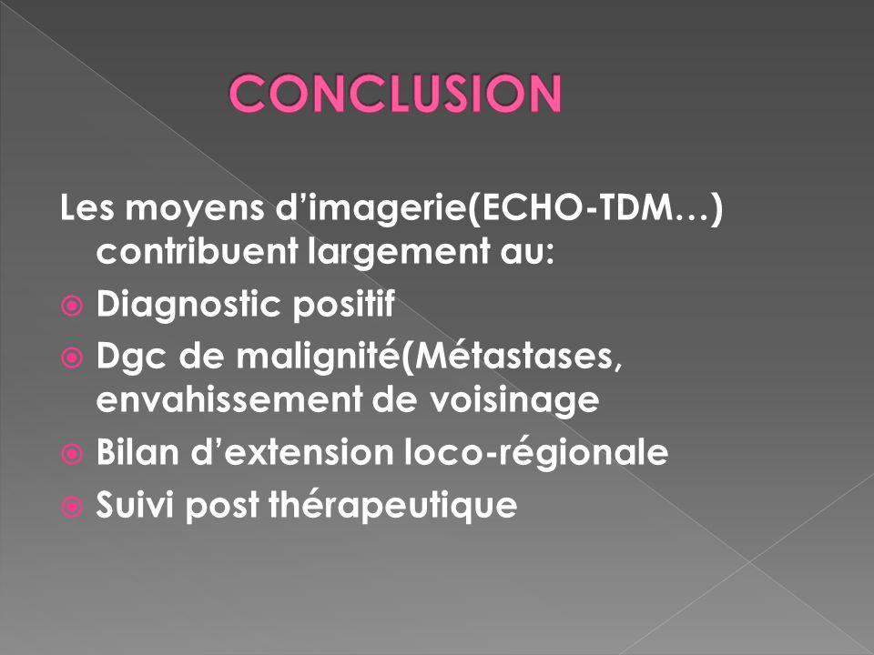 CONCLUSION Les moyens d'imagerie(ECHO-TDM…) contribuent largement au: