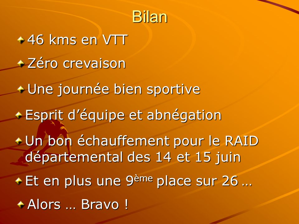 Bilan 46 kms en VTT Zéro crevaison Une journée bien sportive