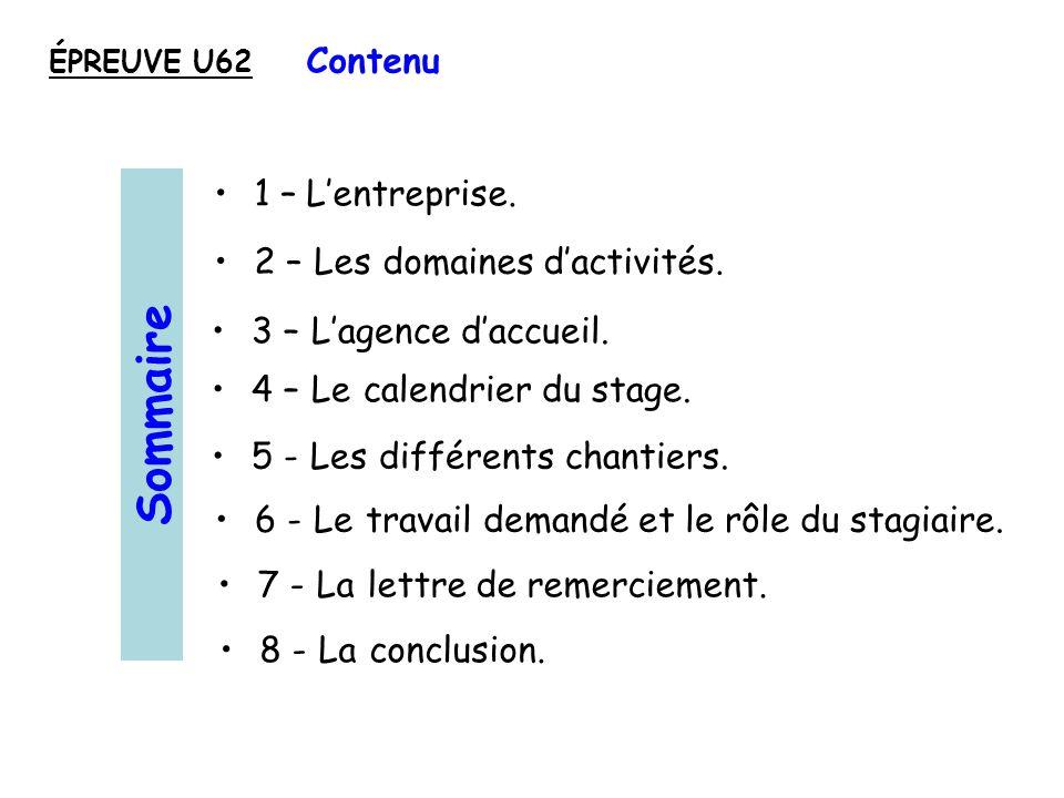 Sommaire Contenu 1 – L'entreprise. 2 – Les domaines d'activités.