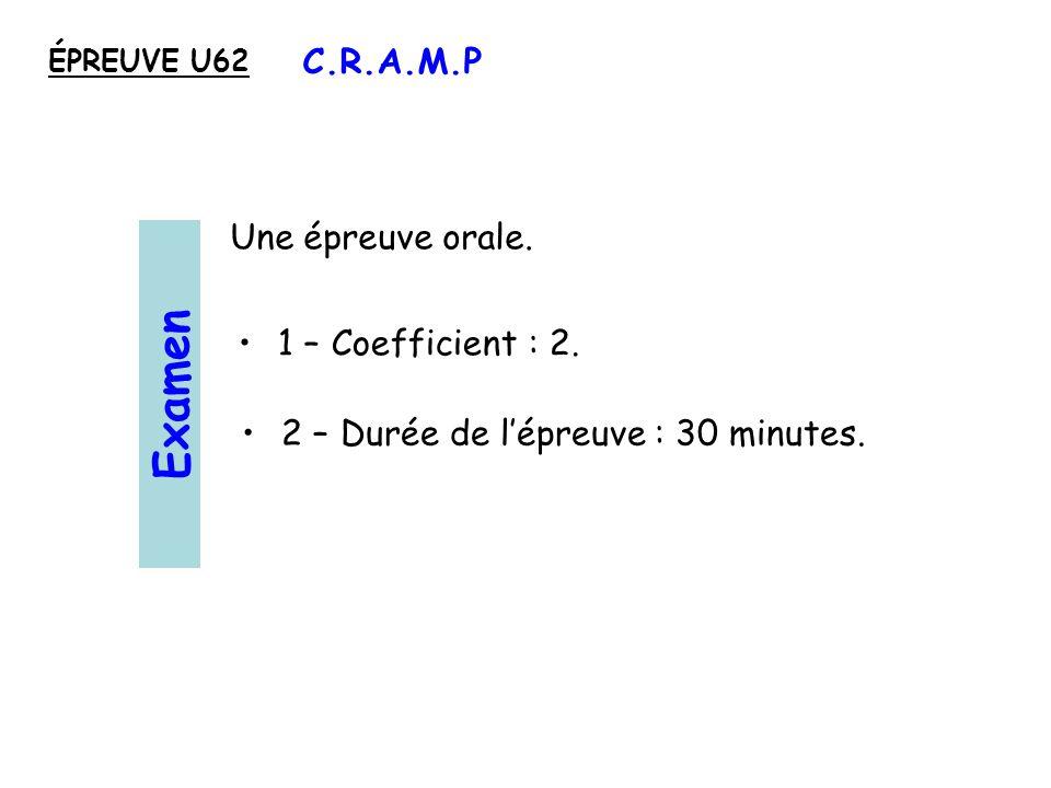 Examen C.R.A.M.P Une épreuve orale. 1 – Coefficient : 2.
